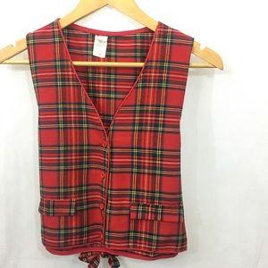 Vintage • Royal Stewart red Tartan plaid vest •